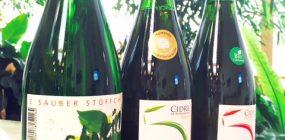 Apfelwein und Cidre, drei Flaschen mit Bioprodukten
