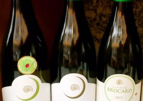 Drei Flaschen mit unterschiedlichen Chablis des Weingutes Brocard