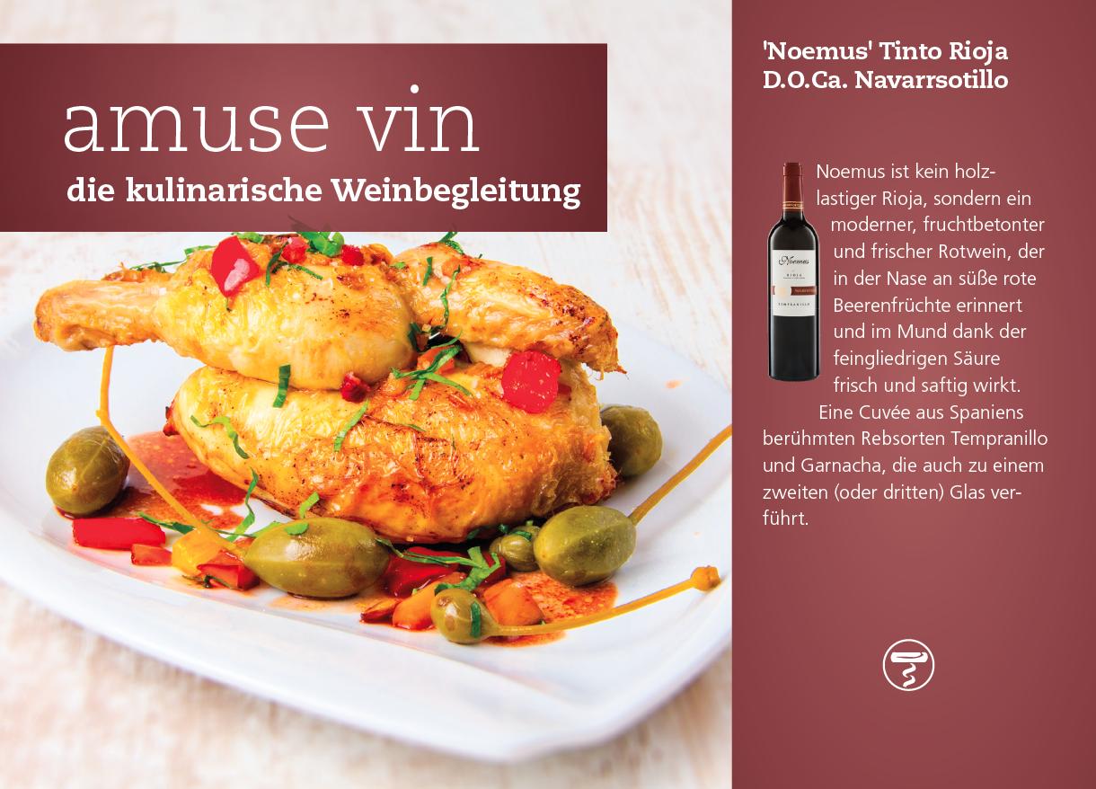 Halbes Hähnchen mit Rotwein und Kapern trifft auf 'Noemus' Tinto Rioja