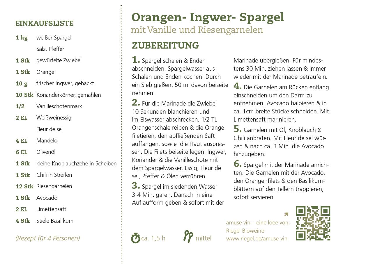 Orangen-Ingwer-Spargel mit Riesengarnelen trifft auf 'Tre Piume' Bianco Fasoli